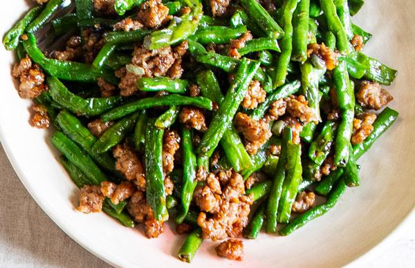Louis Tikaram's stir-fried snake beans with pork