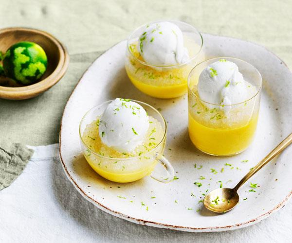 Louis Tikaram's mango pudding with lime tapioca and coconut ice-cream