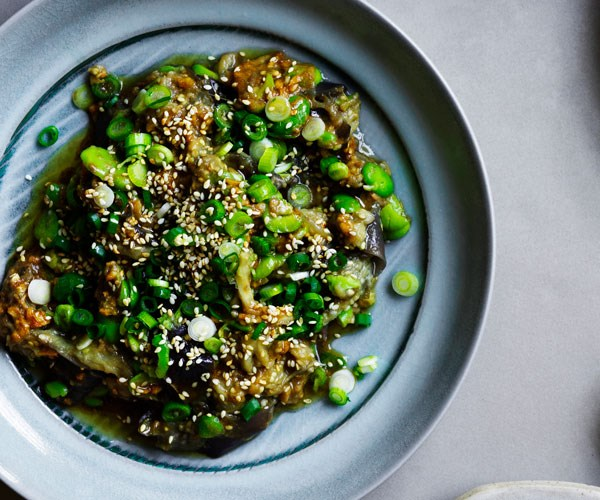 """**[Tony Tan's eggplant and broad beans with soy-sesame dressing](https://www.gourmettraveller.com.au/recipes/chefs-recipes/eggplant-broad-beans-16755
