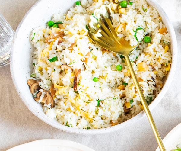 Louis Tikaram's fried rice of shiitake,  salted radish and peas