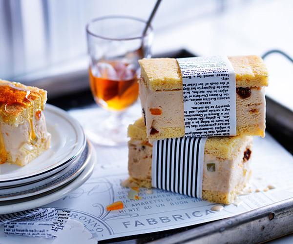 Burnt-honey and ricotta gelato slice