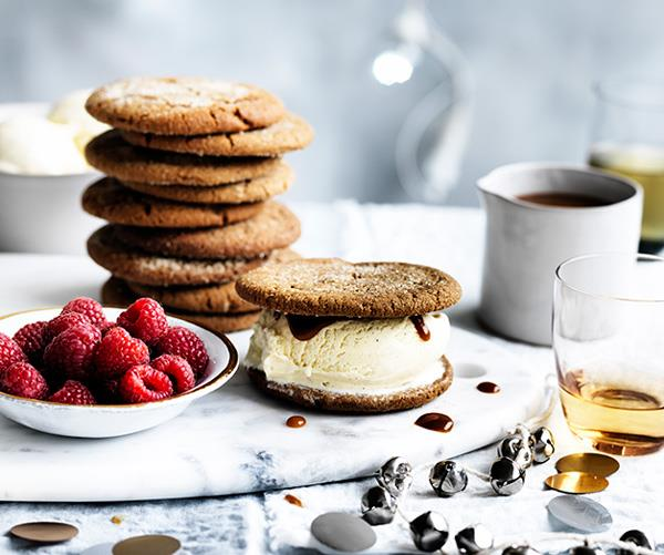 """**[Ginger biscuit ice-cream sandwiches with whisky caramel](https://www.gourmettraveller.com.au/recipes/browse-all/ginger-biscuit-ice-cream-sandwiches-with-whisky-caramel-12668