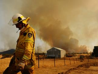 Rural Fire Service firefighter Trevor Stewart views a flank of a fire on January 11, 2020 in Tumburumba, Australia.