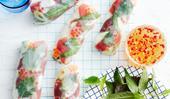 Tuna rice paper rolls
