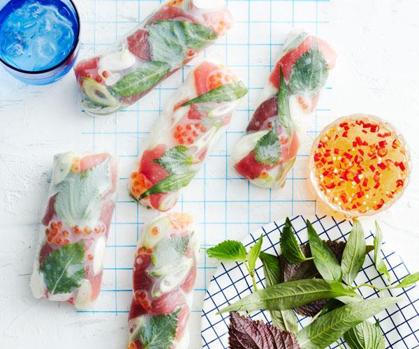 "**[Tuna rice paper rolls](https://www.gourmettraveller.com.au/recipes/fast-recipes/tuna-rice-paper-rolls-18239|target=""_blank"")**"