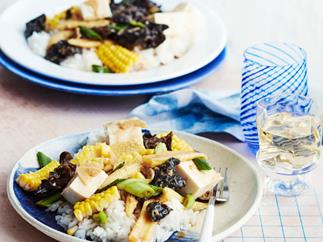 Drunken corn and ginger stir-fry with silken tofu