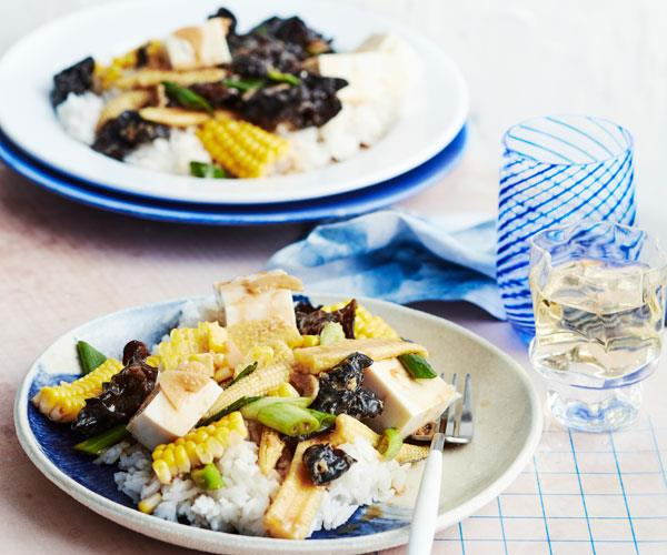 "**[Drunken corn and ginger stir-fry with silken tofu](https://www.gourmettraveller.com.au/recipes/fast-recipes/tofu-corn-ginger-stir-fry-18240|target=""_blank"")**"