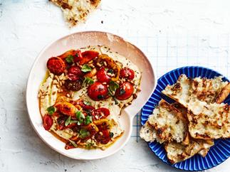 Hummus with blistered tomatoes