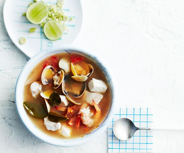 Seafood in hot-and-sour broth
