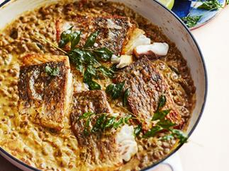 Coconut lentil dhal with barramundi