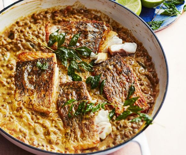 "**[Coconut dhal with barramundi](https://www.gourmettraveller.com.au/recipes/fast-recipes/dhal-fish-18247|target=""_blank"")**"