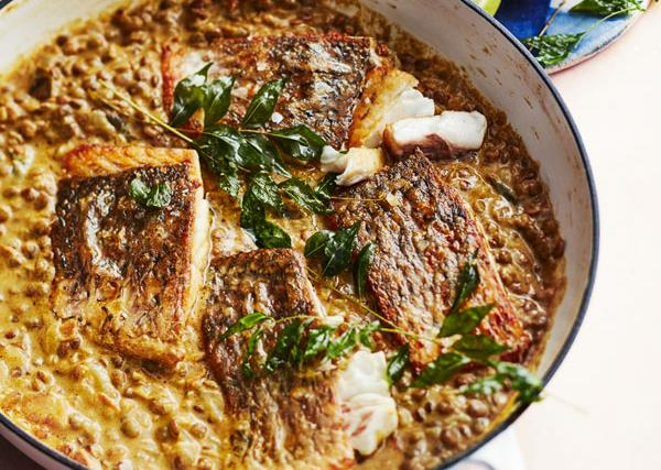 Coconut dhal with barramundi