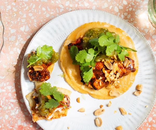 Tostada with achiote grilled albacore