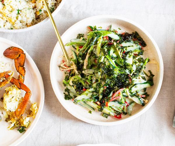 "**[Louis Tikaram's cucumber and snow pea salad](https://www.gourmettraveller.com.au/recipes/chefs-recipes/cucumber-snow-pea-salad-18198|target=""_blank"")**"