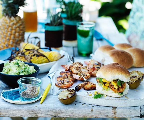 Barbecued prawn and corn rolls with smashed avocado