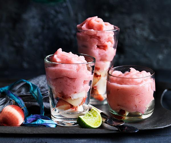 "**[Peach and gin slushie](https://www.gourmettraveller.com.au/recipes/browse-all/peach-and-gin-slushie-12683|target=""_blank"")**"