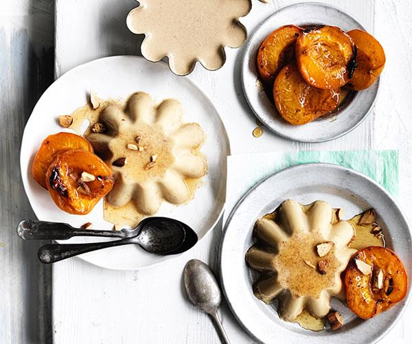 """**[Honey and almond-milk blancmange with honey-roasted apricots](https://www.gourmettraveller.com.au/recipes/browse-all/honey-and-almond-milk-blancmange-with-honey-roasted-apricots-12705 target=""""_blank"""")**"""