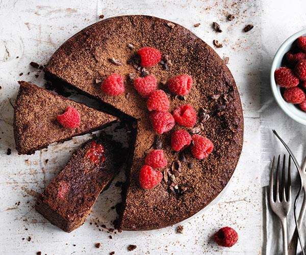 "**[Cacao, hazelnut and raspberry cake](https://www.gourmettraveller.com.au/recipes/browse-all/cacao-hazelnut-and-raspberry-cake-12724 target=""_blank"")**"