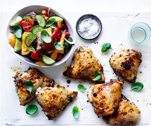 Roast chicken thighs with sourdough panzanella