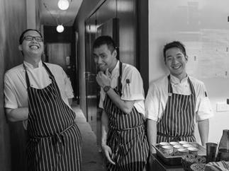 Victor Liong and chefs Roberto Li and Michael Li at Lee Ho Fook, Melbourne.