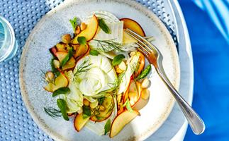Jason Saxby's burrata with peach, fennel, macadamia, mint and lemon myrtle oil
