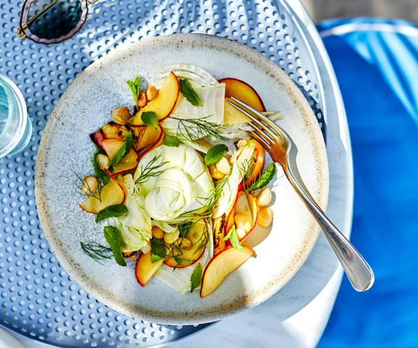 Jason Saxby's burrata with peach, fennel, macadamia, mint and lemon myrtle oil
