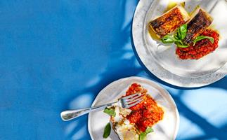 Jason Saxby's grilled cobia with puttanesca salsa