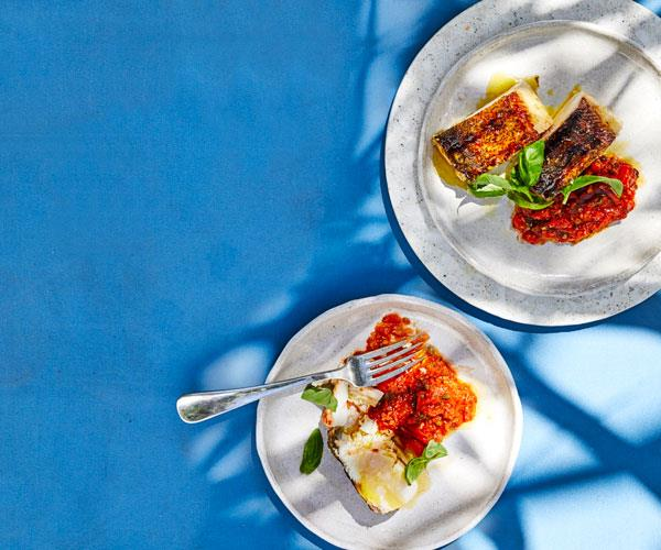 "**[Jason Saxby's grilled cobia with puttanesca salsa](https://www.gourmettraveller.com.au/recipes/chefs-recipes/grilled-fish-tomato-salsa-18265|target=""_blank"")**"