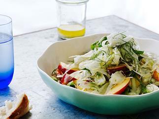 Nectarine, fennel, chèvre and mint salad
