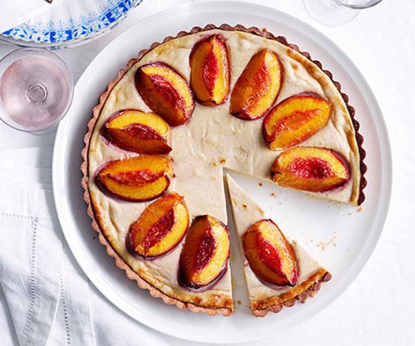 Nectarine and spiced-ricotta tart