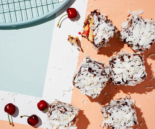 "**[Coconut lamingtons with cherry jam](https://www.gourmettraveller.com.au/recipes/browse-all/coconut-lamingtons-18283|target=""_blank"")**"