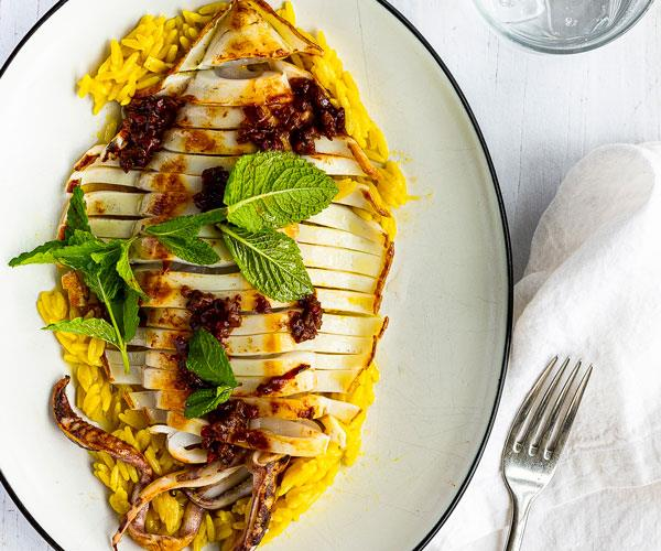 "**[Captain Moonlite's soffritto, southern calamari, saffron orzo and mint](https://www.gourmettraveller.com.au/recipes/chefs-recipes/barbecued-calamari-orzo-18291|target=""_blank""