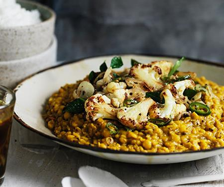Dhal with crisp cauliflower and rasam