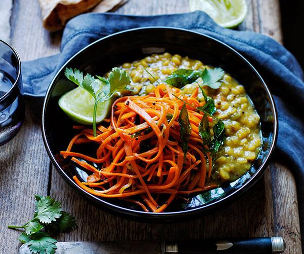 """**[Yellow split pea and carrot dhal](https://www.gourmettraveller.com.au/recipes/browse-all/yellow-split-pea-and-carrot-dhal-12228