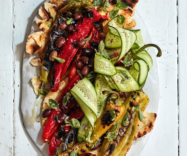 "[Grilled peppers and flatbread salad](https://www.gourmettraveller.com.au/recipes/fast-recipes/grilled-peppers-flatbread-salad-18314|target=""_blank""