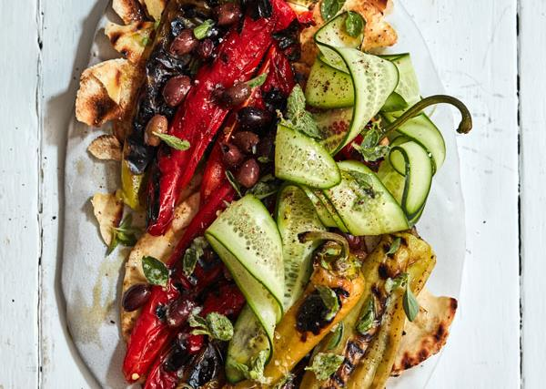 Grilled peppers and flatbread salad