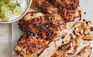 Spiced chicken with grape cacik