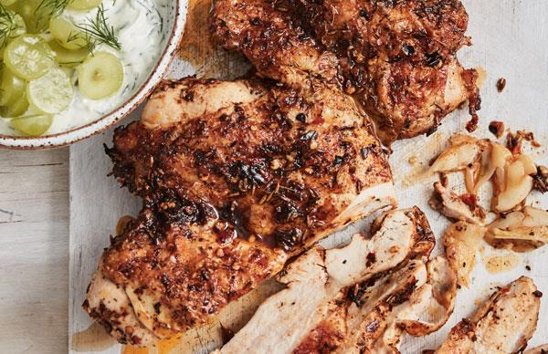 Turkish-spiced chicken with grape cacik