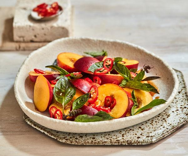"""**[Hot and sour nectarine salad](https://www.gourmettraveller.com.au/recipes/fast-recipes/nectarine-salad-hot-sour-18319 target=""""_blank"""")**"""