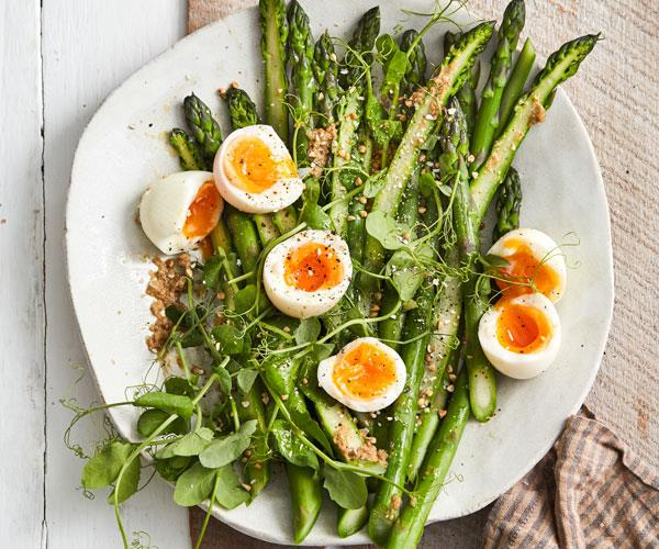 """**[Asparagus and eggs with miso dressing](https://www.gourmettraveller.com.au/recipes/fast-recipes/asparagus-eggs-miso-18321 target=""""_blank"""")**"""