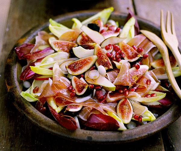 """**[Fig, prosciutto, pear and witlof salad with pomegranate vinaigrette](https://www.gourmettraveller.com.au/recipes/fast-recipes/fig-prosciutto-pear-and-witlof-salad-with-pomegranate-vinaigrette-9487