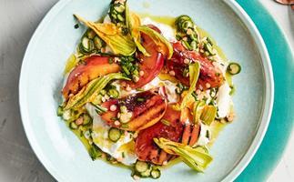 Fino's grilled peach, zucchini flowers and stracciatella