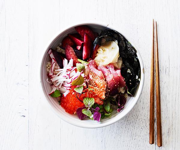 "**[Brown rice chirashi zushi](https://www.gourmettraveller.com.au/recipes/healthy-recipes/brown-rice-chirashi-zushi-15547 target=""_blank"")**"