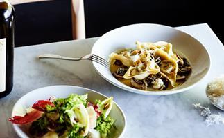 Agostino's endive salad with pistachio, Taleggio, apple and Montasio