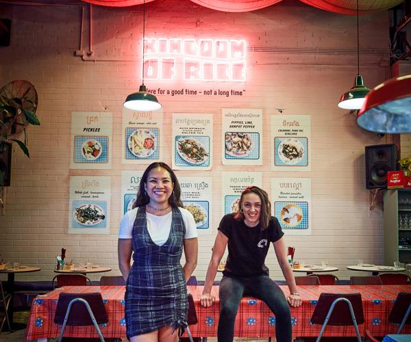 Bopha's Sophia Thach and Lillia McCabe at their former pop-up restaurant Kingdom of Rice.