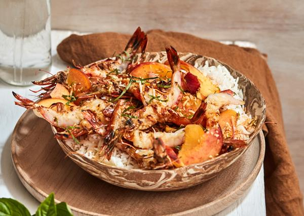 Grilled prawns with coconut rice and peach sambal