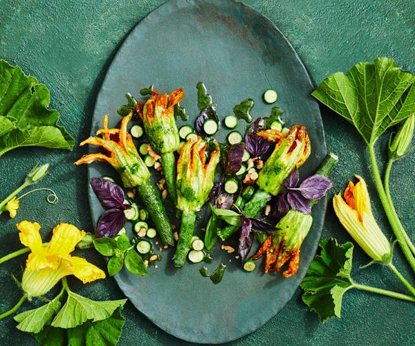 "**[Stuffed zucchini flowers with basil sauce](https://www.gourmettraveller.com.au/recipes/chefs-recipes/stuffed-zucchini-flowers-basil-18383|target=""_blank"")**"