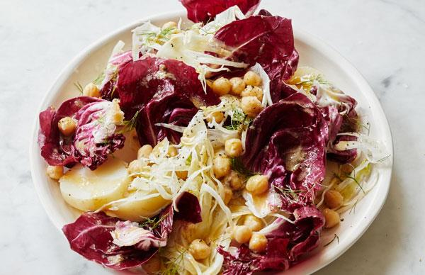 Giovanni Pilu's potato salad with chickpeas, fennel, radicchio and anchovy dressing