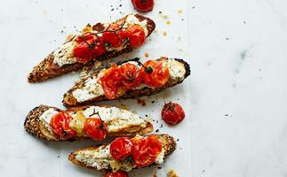Giovanni Pilu's herbed ricotta and roasted-tomato bruschetta