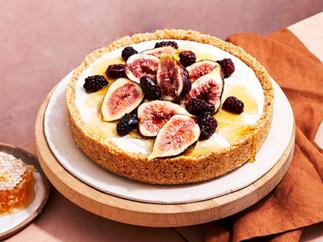 Dairy-free honey and macadamia tart with figs and blackberries